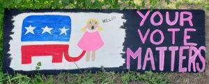 Marion made a sign with GOP elephant trunk up girl's skirt. It was confiscated.